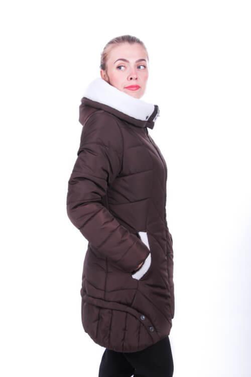 Фото куртка-парка на зиму женская модная утеплённая исскуственной овчиной